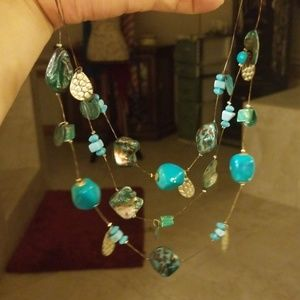 Pretty multistrand blue tone necklace PM 609